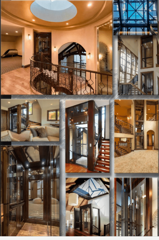 Image collage of luxury home elevators