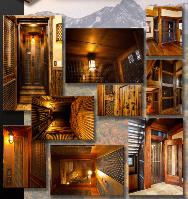 Image collage of rustic home elevator lifts interior